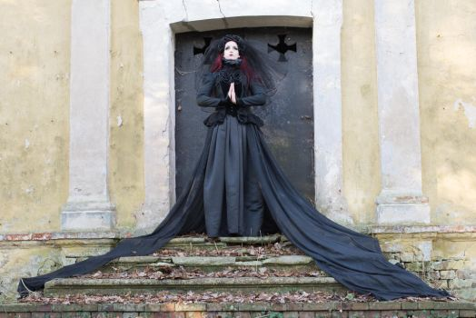 Stock - Gothic lady crypt praying pose 1 by S-T-A-R-gazer