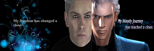New Vergil and Old Vergil Wallpaper by me. by Hatredboy