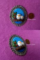 Fimo Brooch Owl by oOMetalbrideOo