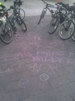 Occupy Boston - Chalk and Cops by KaraSkirata