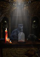 The cat lures the crow with an orange by Wimmeke63