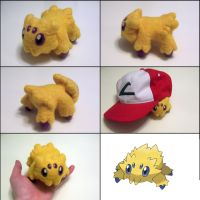 Life-size needle felted Joltik by SnowFox102