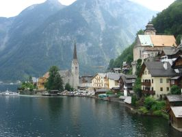 village and lake stock by Ametystoku