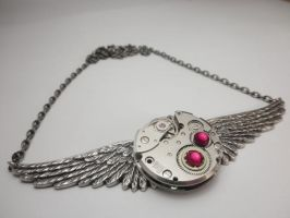 Steampunk Necklace + Crystals by SteamDesigns