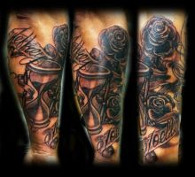 Hourglass roses and names by WildThingsTattoo