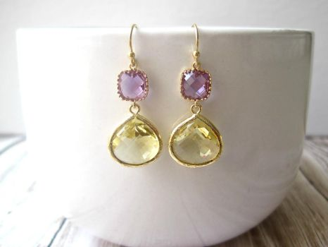 Lavender Purple Citrine Yellow Gold Earrings by SparkleMeHappy