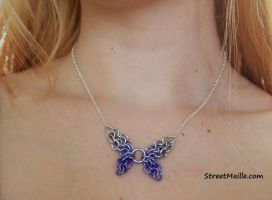 Purple Ombre Butterfly Necklace by ofmyhats