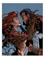 Witchblade vs. Punisher COLORED by Voodoodwarf