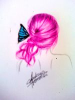 Pink Hair Blue Butterfly by AndrezzaKososki