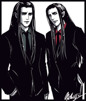 The Twins in black suits by MellorianJ