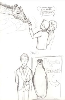 Jack and Ianto at the Zoo by adubioussoul