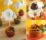 Ghostly Pumpkin Cupcakes by cakecrumbs