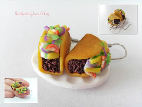 Tiny polymer clay taco earrings by SweetIva