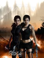 Lara Croft and Doppelganger by Lufik