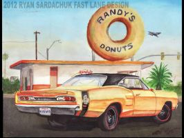 1969 Dodge Super Bee At Randy's Donuts by FastLaneIllustration