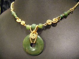 nephrite jade in brass necklace by BacktoEarthCreations