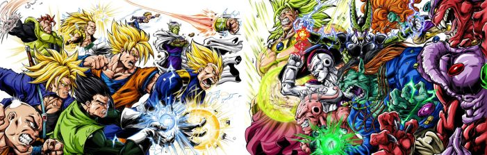 DBZ Villains Vs heroes clash by BK-81