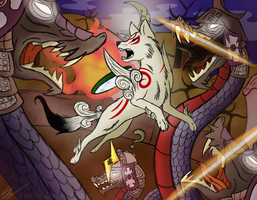 Battle at the Moon Cave {Okami} by SheaList