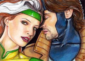 Rogue Gambit Sketch Card 1 by veripwolf