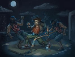 Casey Jones vs. Purple Dragons by ska-fandr