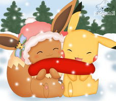 Pikachu and eevee by jirachicute28