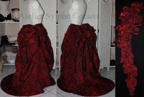 Victorian red bustle skirt in progress by AtelierSylpheCorsets