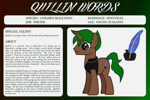 OC Bio Sheet - Quillin Words by outlaw4rc