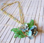 Blue Flowers Upcycled Necklace by RetroRevivalBoutique