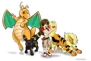 Trainer with Pokemon by maniacalkittykat