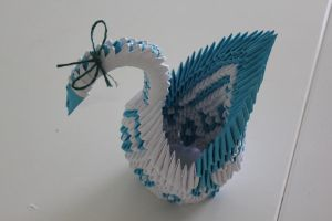 3D Origami - Blue Diamond Swan by Yinblake