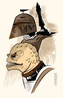 Fett and Bossk by CartoonCaveman