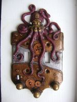 Steampunk Octopus Double Light Switch Cover by charleswainman