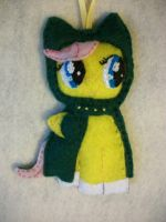 Fluttershy in Keeping Warm ornament series by grandmoonma