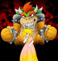 Peach and Bowser by kilroyart