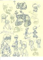 Wall E doodles by Genaleah