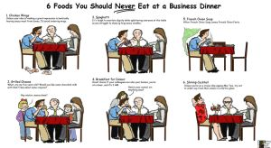 6 Foods you should NOT eat at a business dinner! by Terraced-Fields