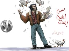 Wolverine and the chickens by thedarkcloak