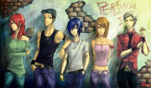 persona3 street wall by Qkung