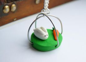 Bunny Rabbit Diorama Necklace by ButtonxMushroom