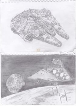 Freehand - Millenium falcon + Star Destroyer by Rashid187