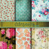 Vintage Floral Digital Paper 12 x 12 inch dsg005 by daisyanderson