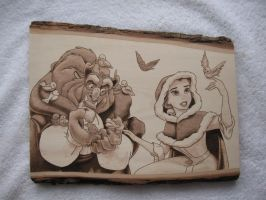 Beauty and Beast Woodburning by ironhorn2501