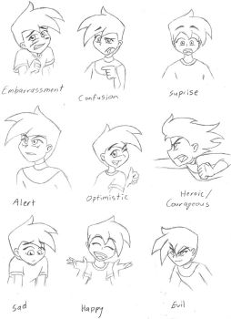 Danny Character Emotion Sheet by The-Ghost-Zone