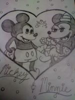Mickey and Minne Valentine Drawing by BebeKimichi