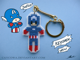 Captain America cross stitch keychain by caycowa