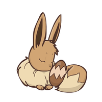 Eevee protecting its egg by sunnyfish
