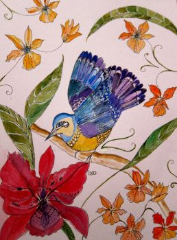 Tropical Bird With Orchids 7 by GeaAusten