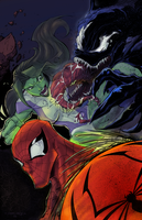 Spidey Venom n She Hulk Colors by cheeny