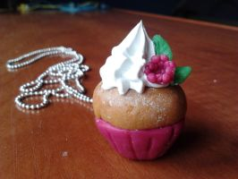 Raspberry cupcake necklace by elmolak13