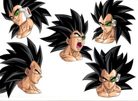 Raditz Expression Sheet :Draft by moxie2D